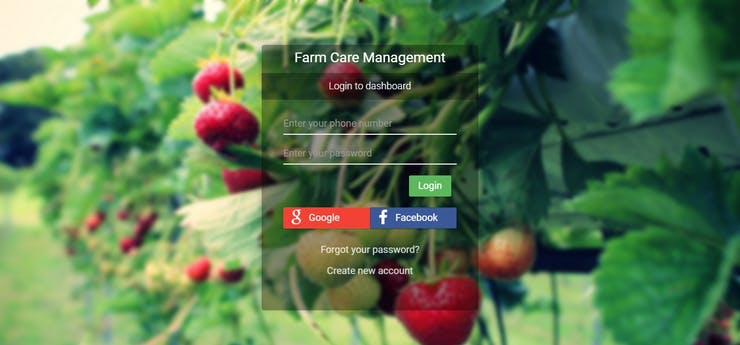Login page of the farm care management. You can register a new account to use our service. Based on your feedbacks, we will optimize our services