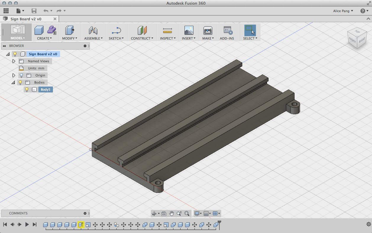 Model of the sign board using Autodesk Fusion 360.
