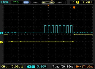 yellow: power to max232, blue pulse train to max232 chip