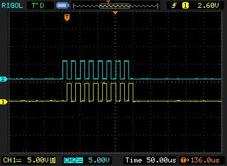 T1in and T2in pulse train to max232 chip