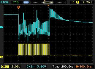 hacked pulse train at the transducer