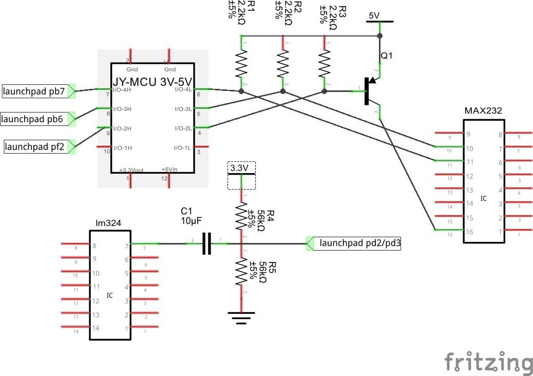 circuit diagram, lm324 and max232 on the HC-SR04 modules