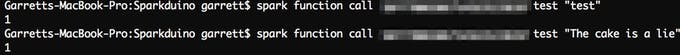 """Sent strings using particle-cli (previously """"spark-cli"""")"""
