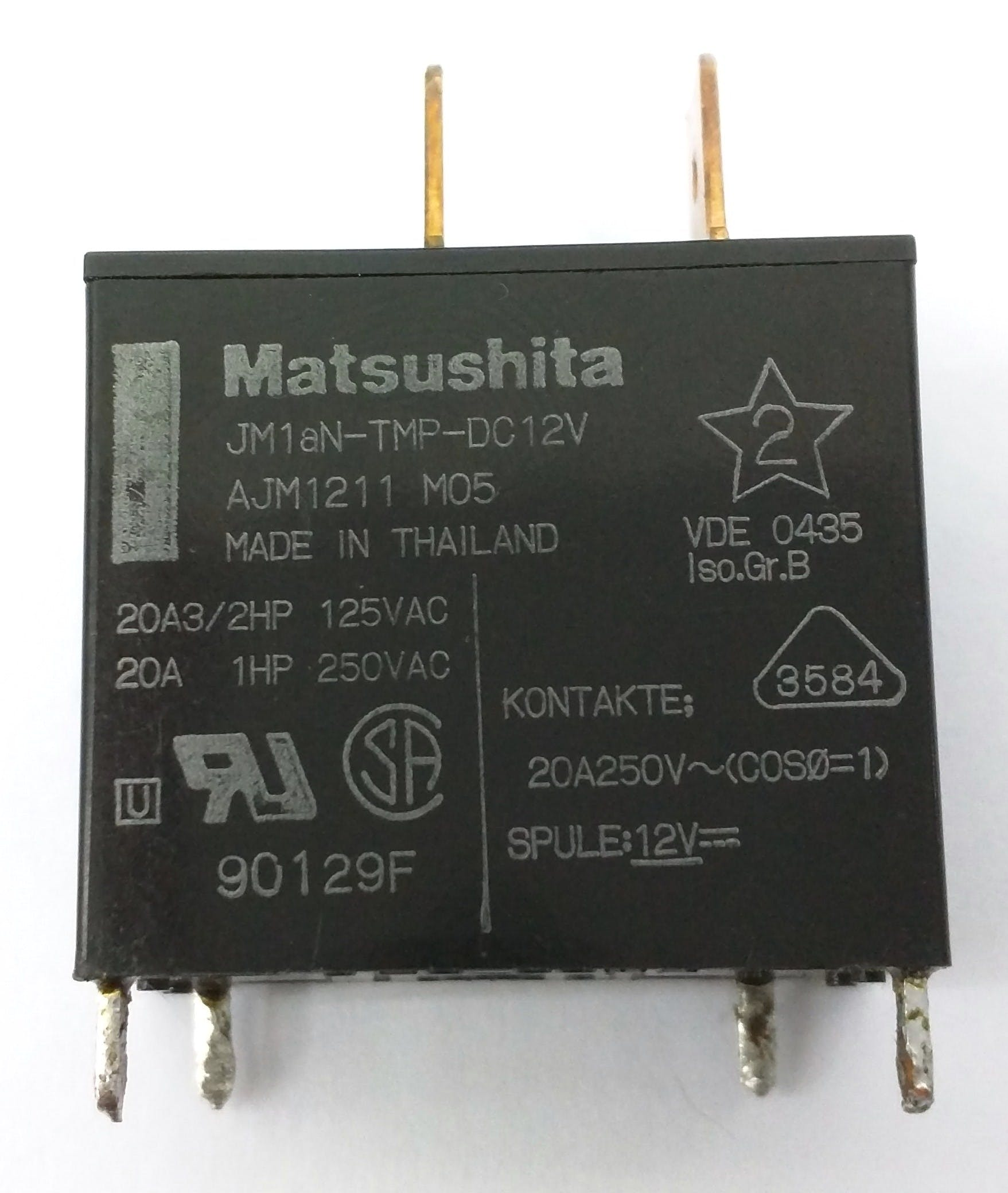 Notice the 12v and 20A printed on it