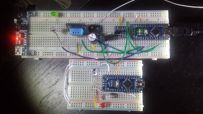 Bottom is IR receiver/blaster test board. I later incorporated the raw IR codes into the proto board above