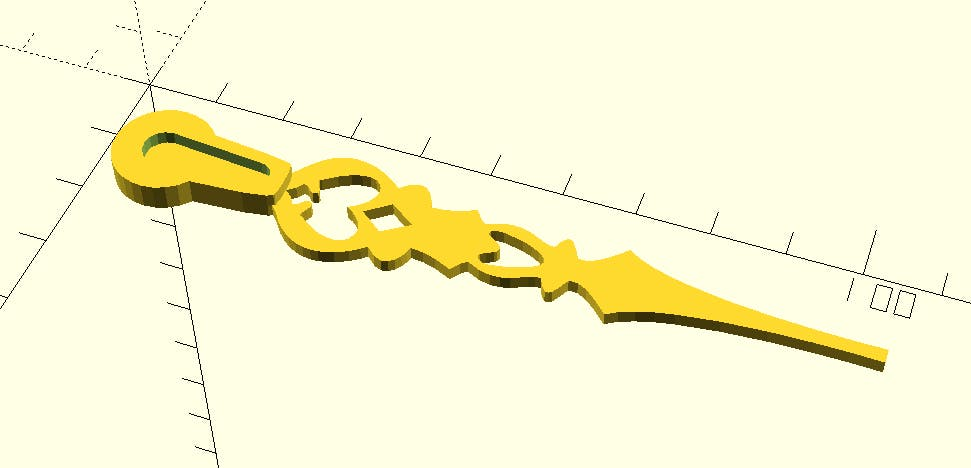Rendered 3D part for the clock hand