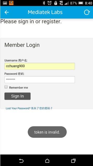 Input credentials