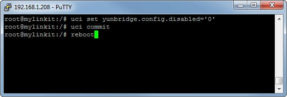 Type in the uci set command and commit. Reboot to finalize.