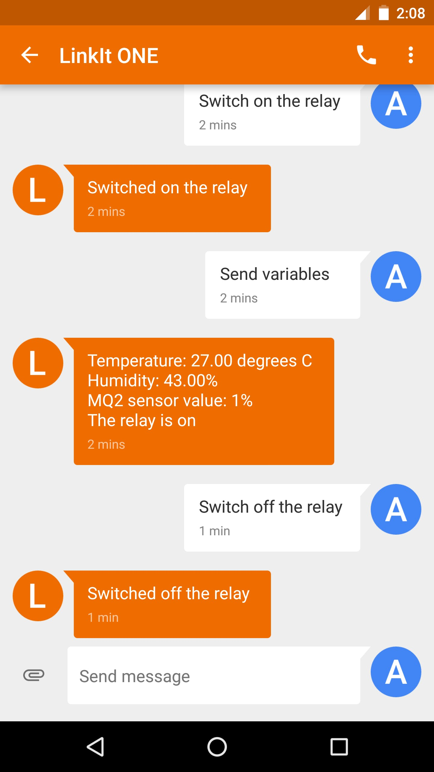 Conversation between LinkIt ONE and my smartphone