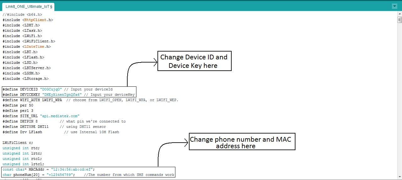 Change Device Key and Device Id, and phone number and MAC address. You need to enter the values in the inverted commas
