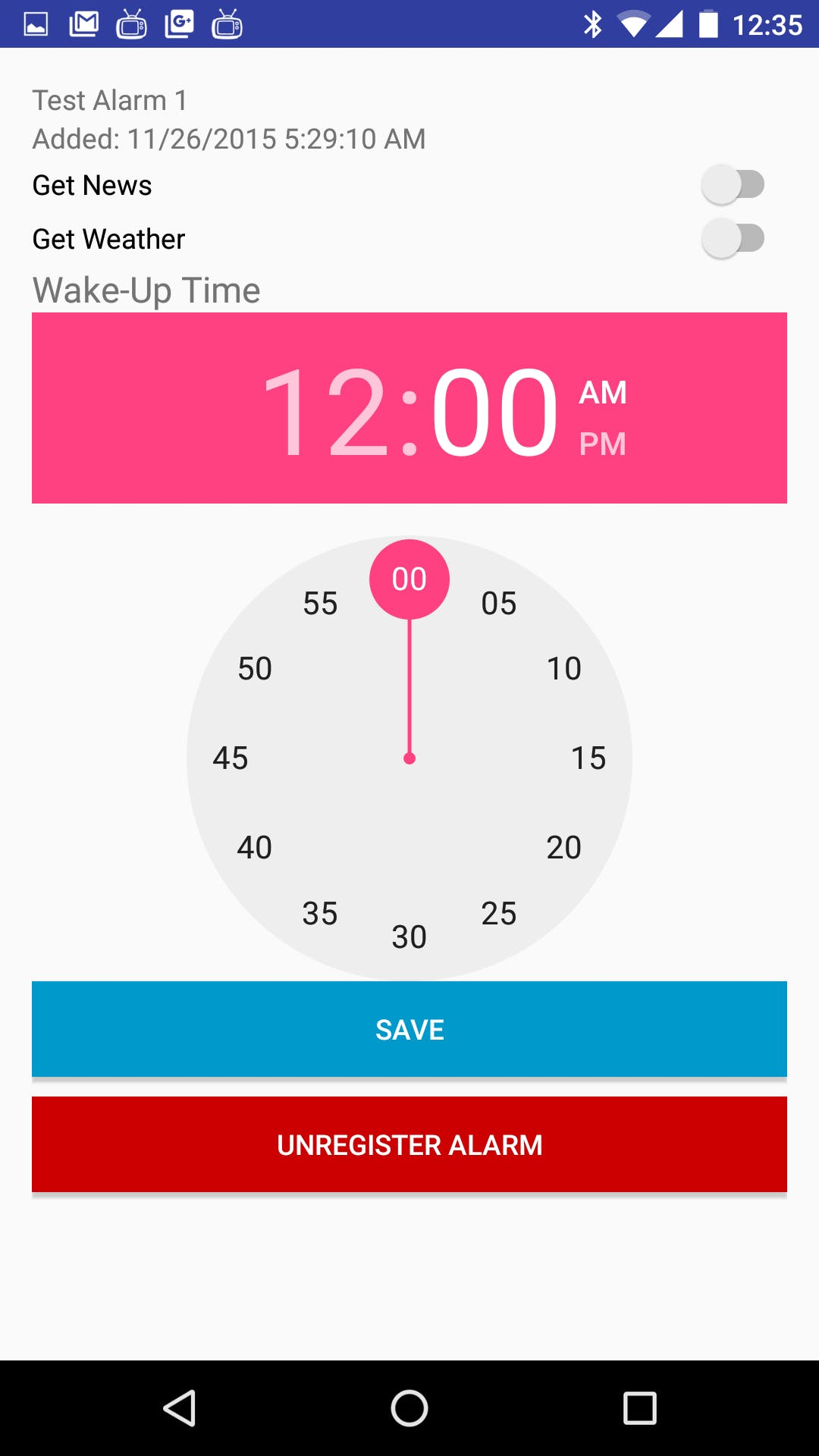 Alarm settings activity