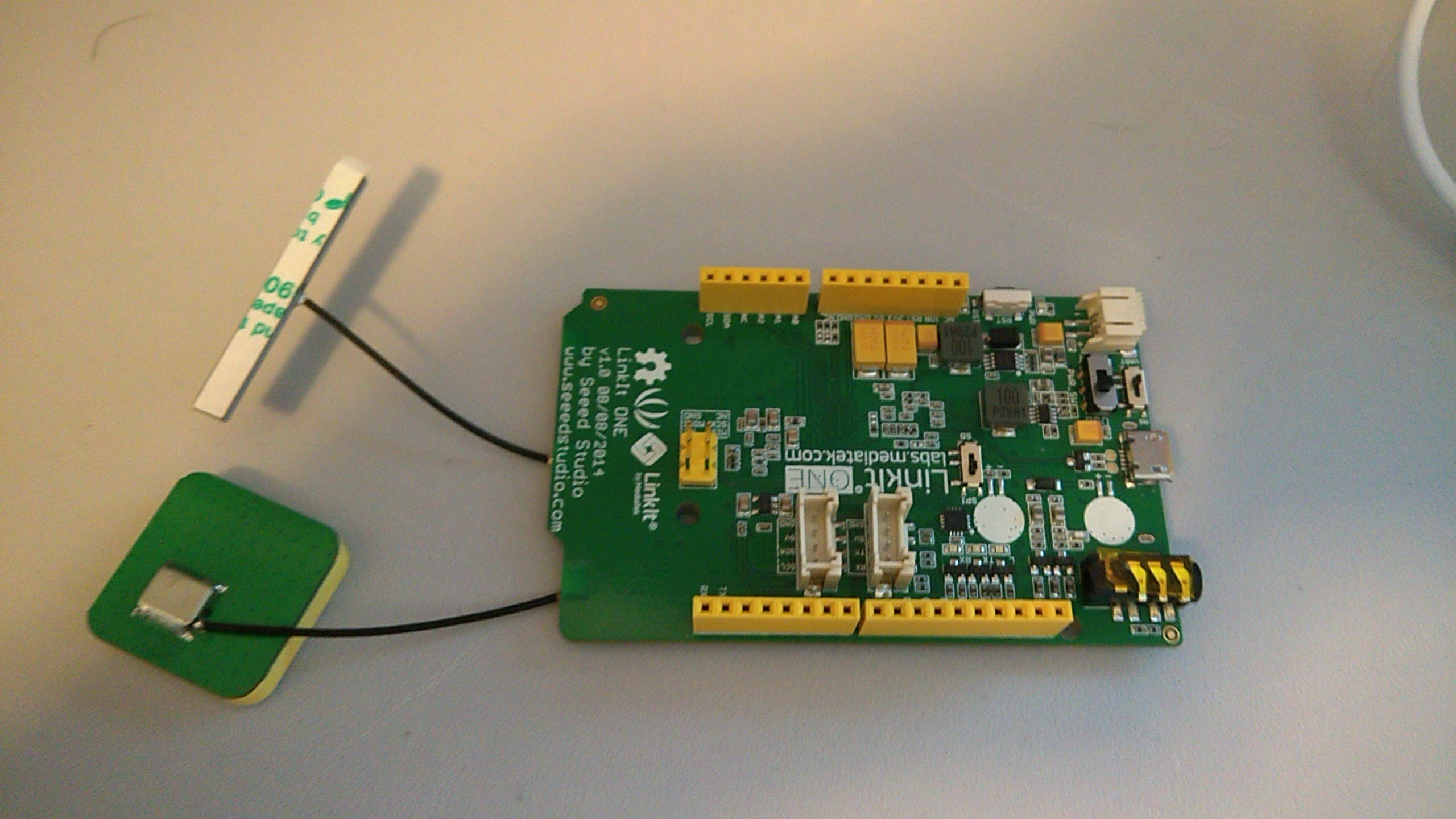 LinkIt One with GPS and WiFi modules hooked up