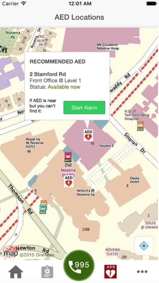 mobile app show the status for nearest AED available