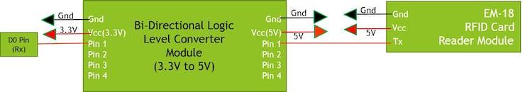 Bi-Directional Logic converter and Em-18 Module