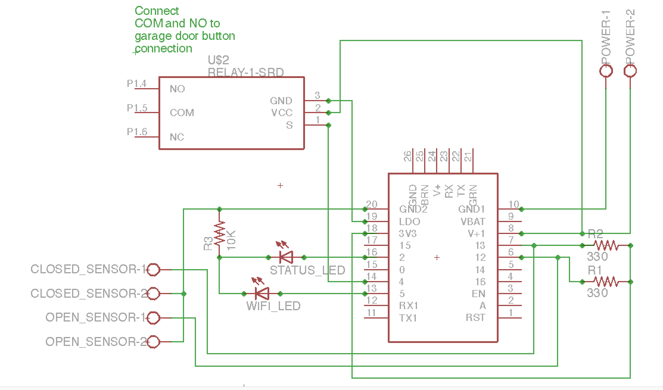 Garage Door Opener Arduino Magnetic Relay Switch Schematics