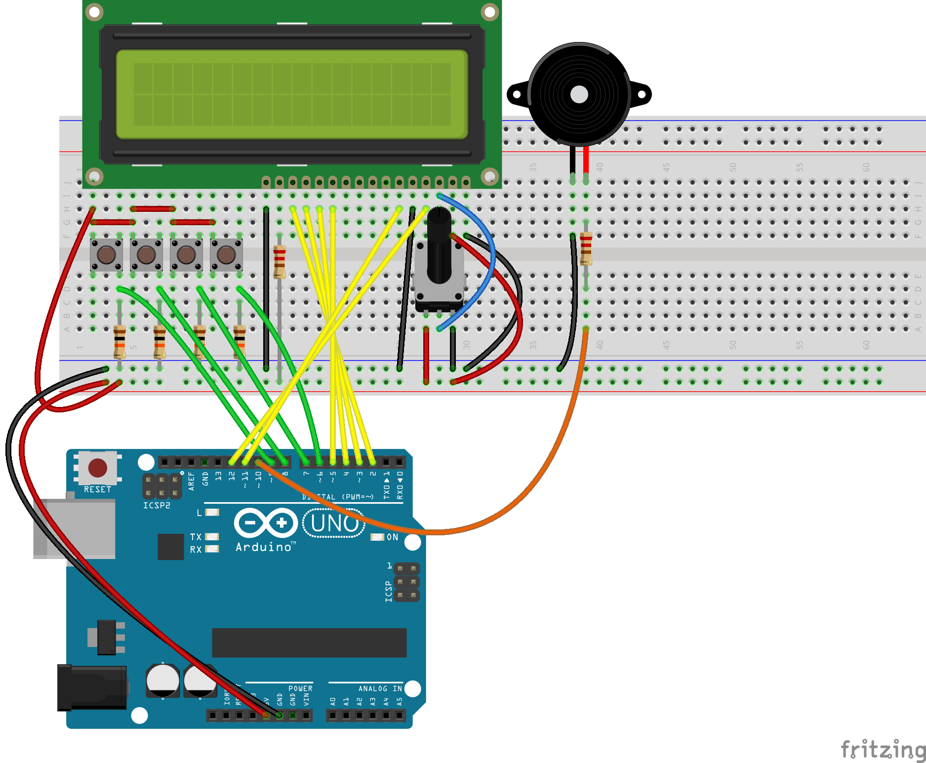 Arduino Kitchen Timer 0 99 Counter Circuit Diagram You Can Use Any General Purpose Breadboard Including The Starter Kit One Which Is Smaller Than Depicted Here Buzzer Be Placed Under