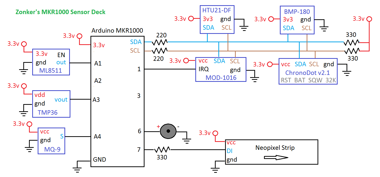 Multiple Mode Environmental Sensor Deck With Mkr1000 Here S A Simple Rain Detector Circuit It Uses Made Of Small Weather Schematic