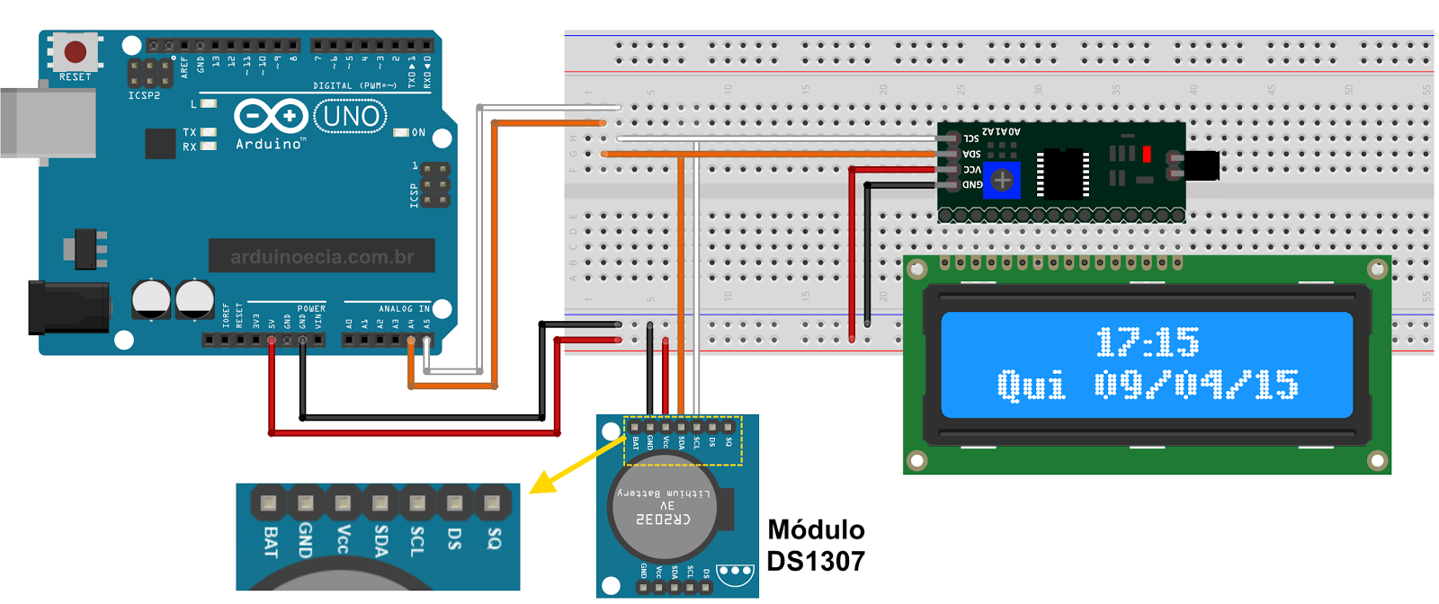 Access Control With Arduino And Ds3231 Real Time Clock Circuit Schematics Display I2c Rtc Diagram Circuito Lcd 16x2 Ds1307