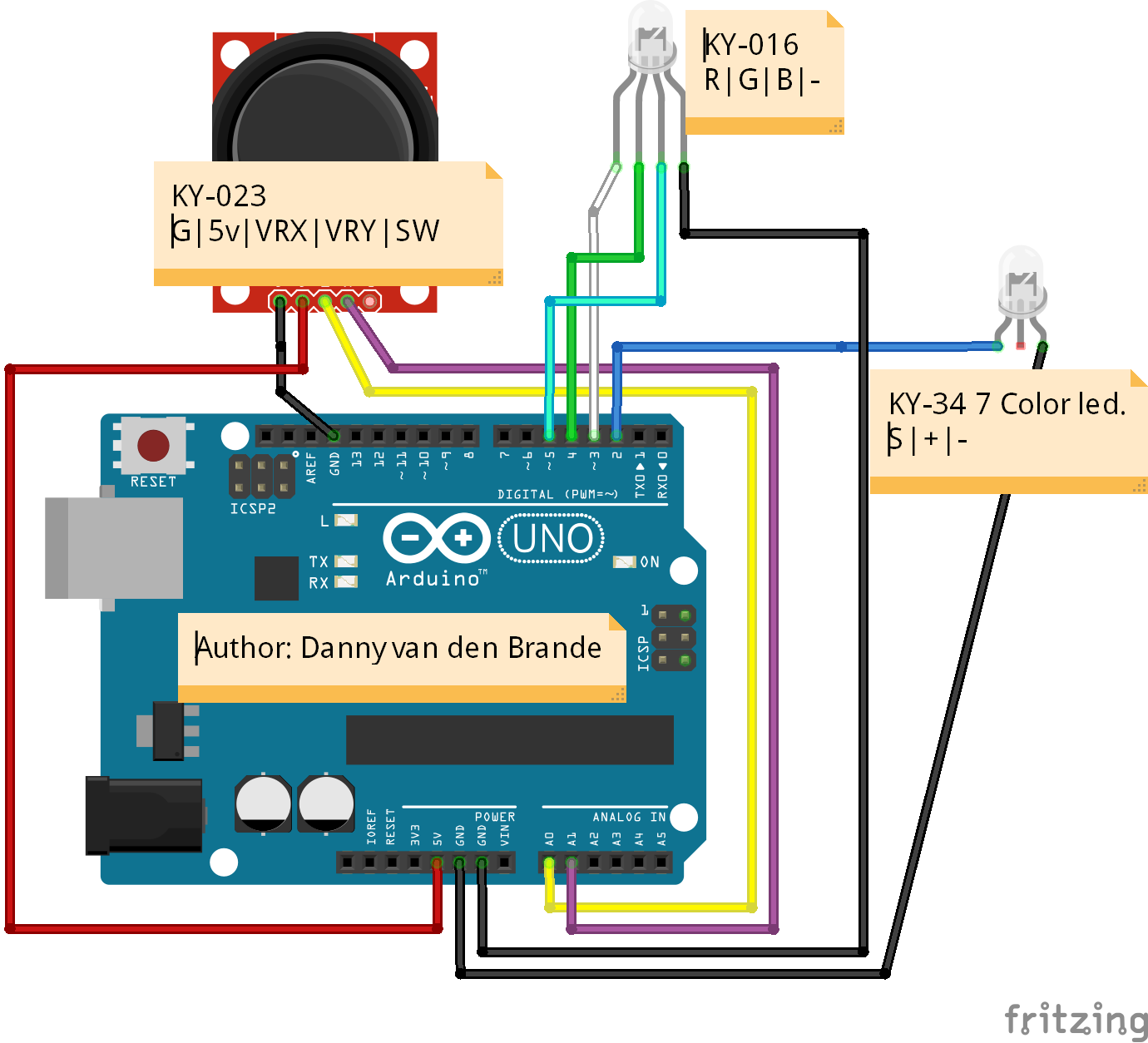 Arduino - Controlling LEDs With PS2 Joystick - KY-023 - Hackster.io