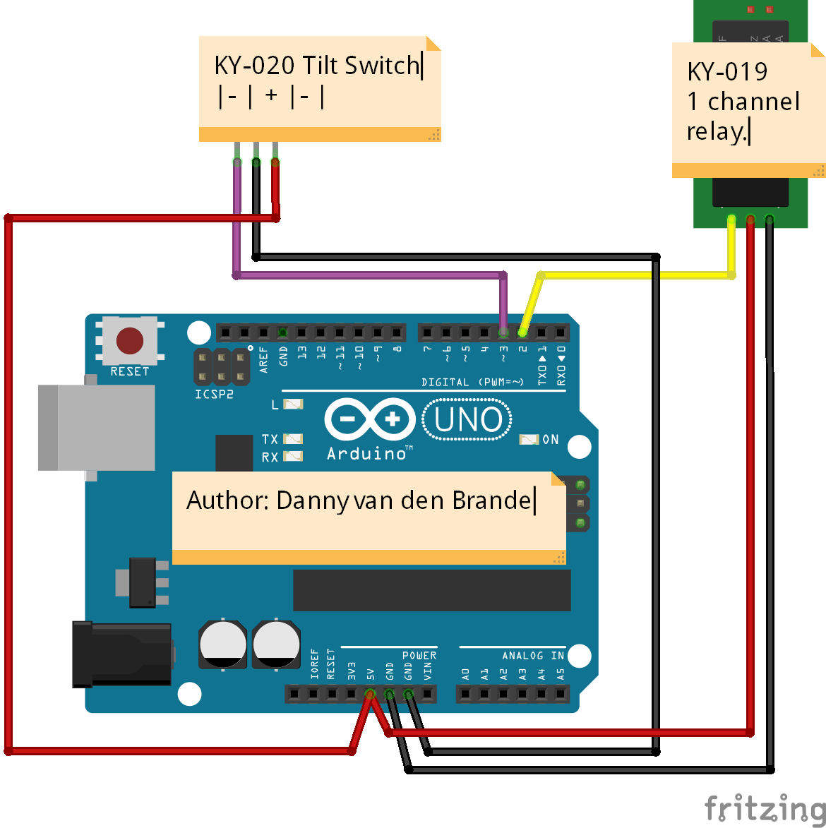 Arduino Tilt Switch Switching On A Relay With The Ky 020 Schematics