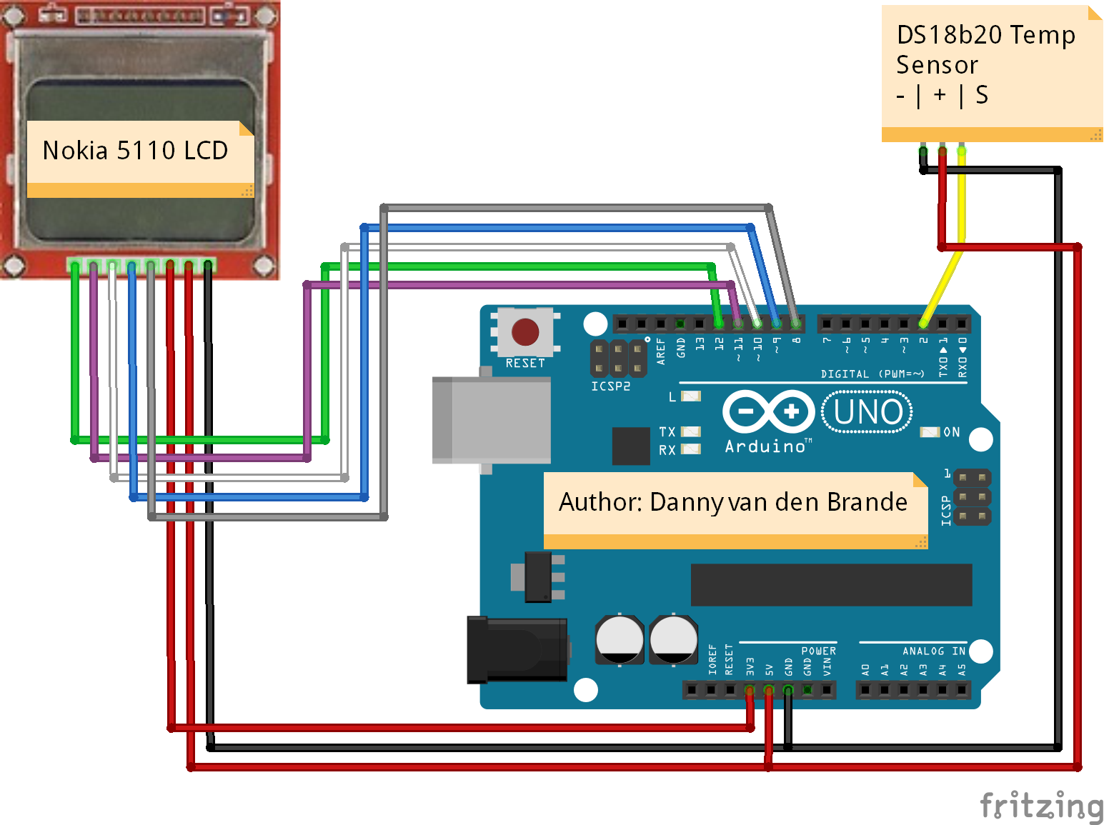 Diagram Of Lcd Arduino Nokia 5110 Temperature Meter With The Ds18b20 Schematic