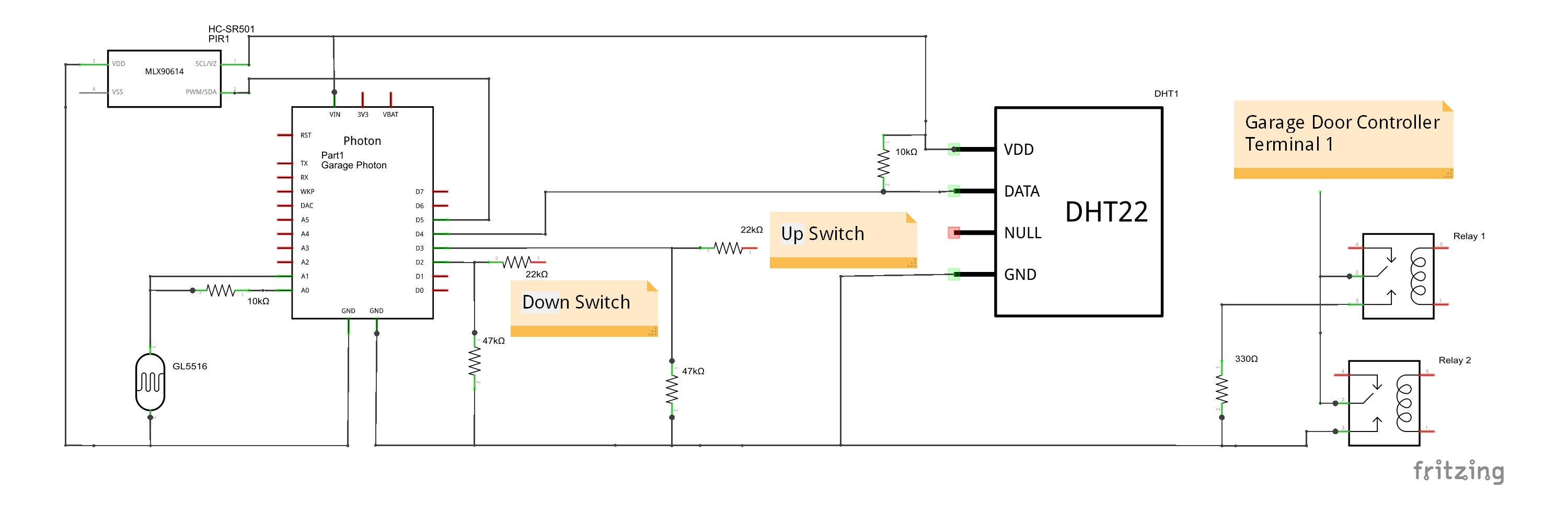 Garage Monitoring And Door Light Control Genie Sensor Wiring Diagram Free Picture Schematic From The Fritzing File Garage20monitor Schem