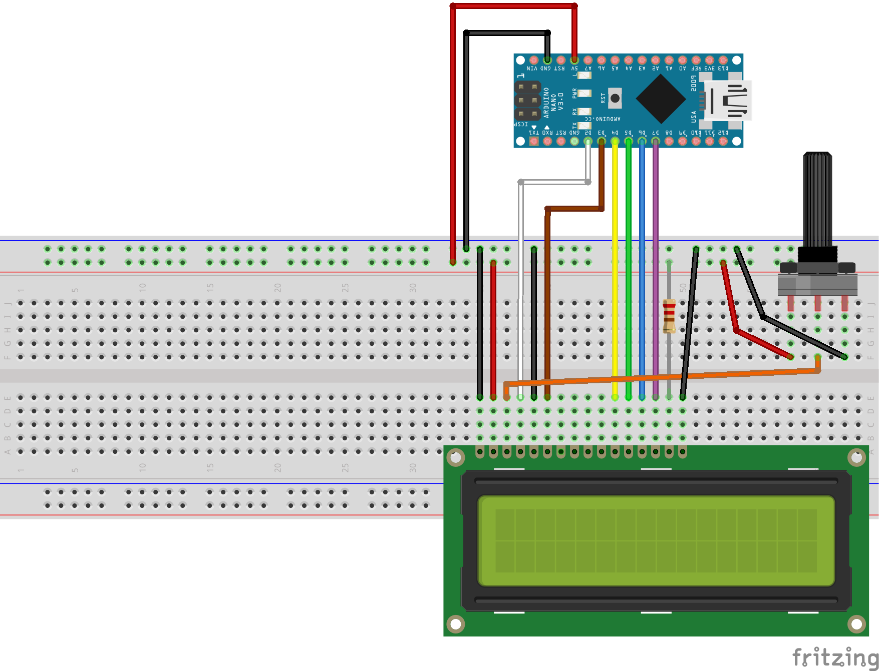 arduino and visuino directly connected 2 x 16 lcd display hackster io rh hackster io Contrast Arduino NHD LCD 0216K1z 74HC595 Circuit Arduino LCD