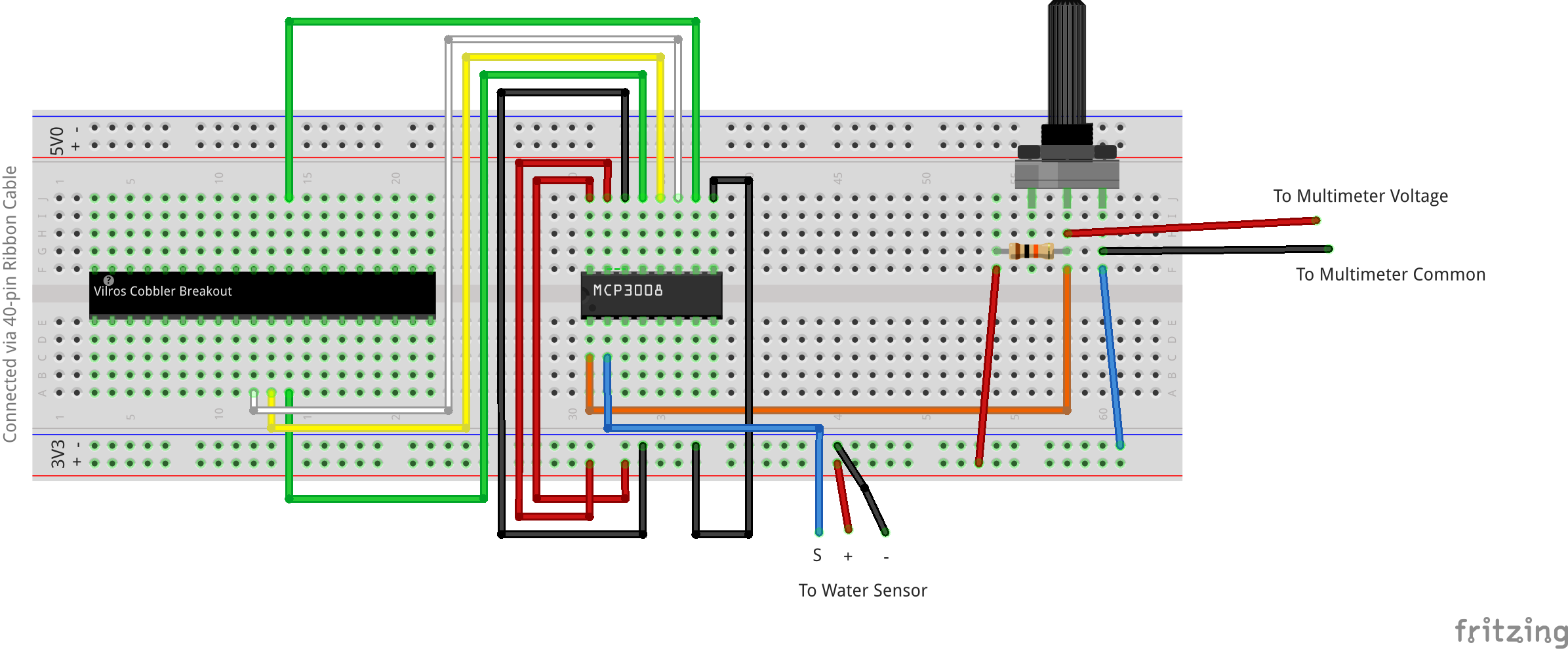 High Sensitivity Water Sensor On Mcp3008 Ribbon Cable Schematic Fritzing File