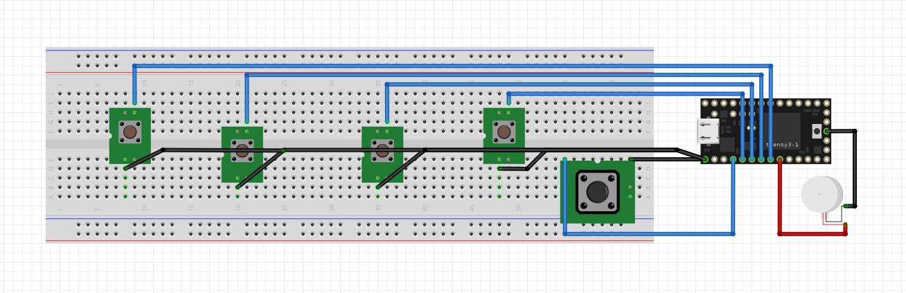 Fritzing binary haptic keyboard